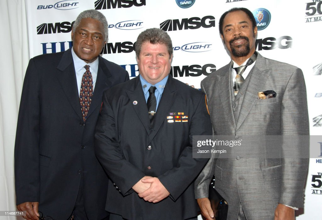 Willis Reed FDNY Firefighter Michael Moran and Walt Frazier
