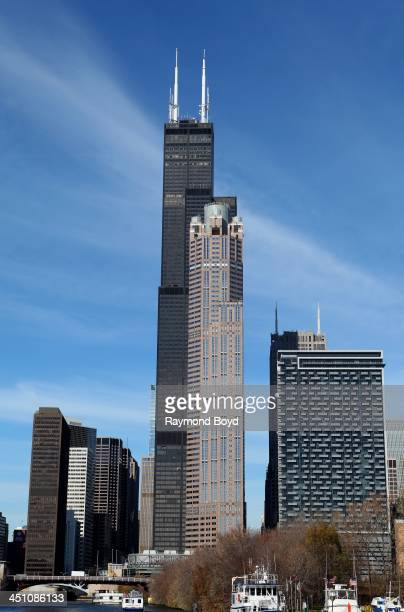 Willis Tower and 311 S Wacker Drive Building in Chicago Illinois on NOVEMBER 13 2013