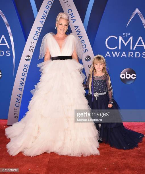 Willow Sage Hart and singersongwriter Pink attend the 51st annual CMA Awards at the Bridgestone Arena on November 8 2017 in Nashville Tennessee