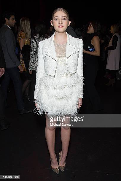 Willow Shields attends the Naemm Khan fashion show during Fall 2016 New York Fashion Week at The Arc Skylight at Moynihan Station on February 17 2016...