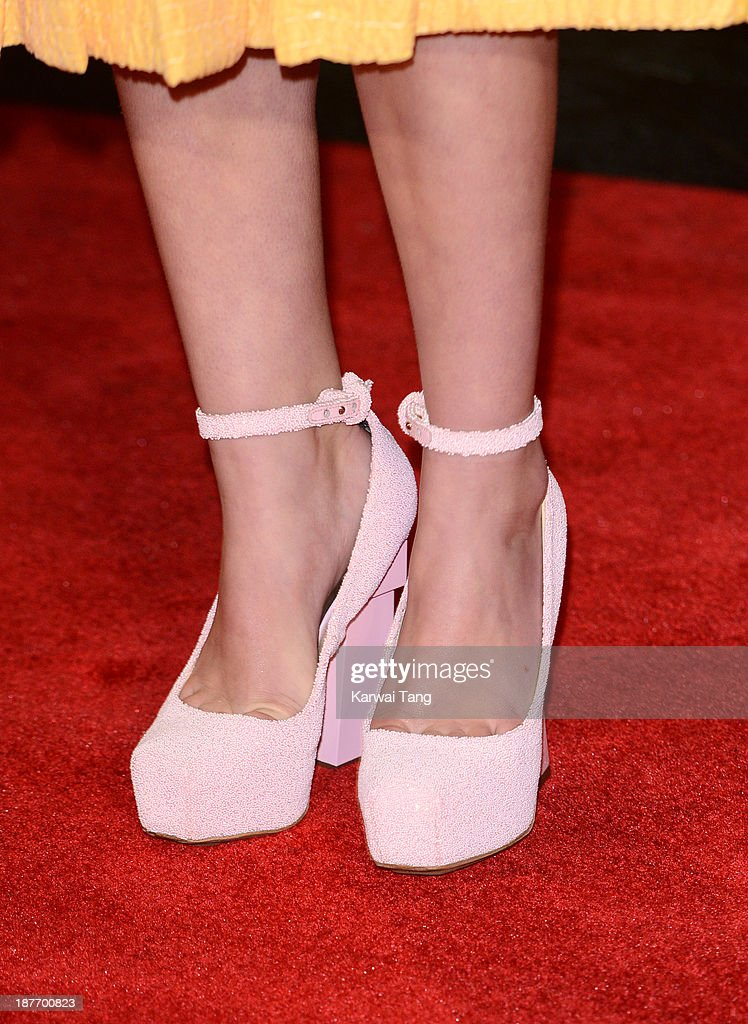 Willow Shields (shoe detail) attends the UK Premiere of 'The Hunger Games: Catching Fire' at Odeon Leicester Square on November 11, 2013 in London, England.