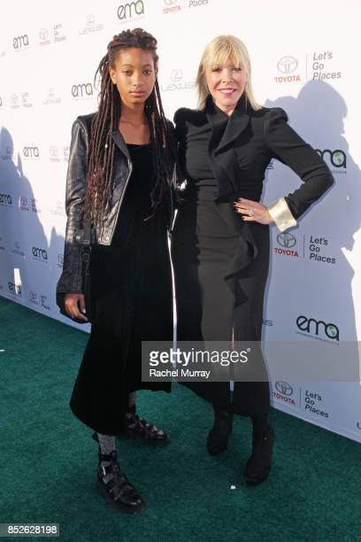 Willow Smith and EMA president Debbie Levin at the Environmental Media Association's 27th Annual EMA Awards at Barkar Hangar on September 23 2017 in...