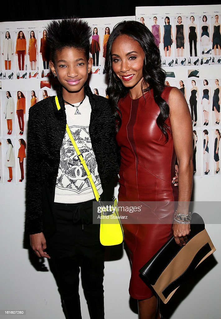 Willow Smith (L) and Jada Pinkett Smith pose backstage at the Narciso Rodriguez Fall 2013 fashion show during Mercedes-Benz Fashion Week at Sir Stage37 on February 12, 2013 in New York City.