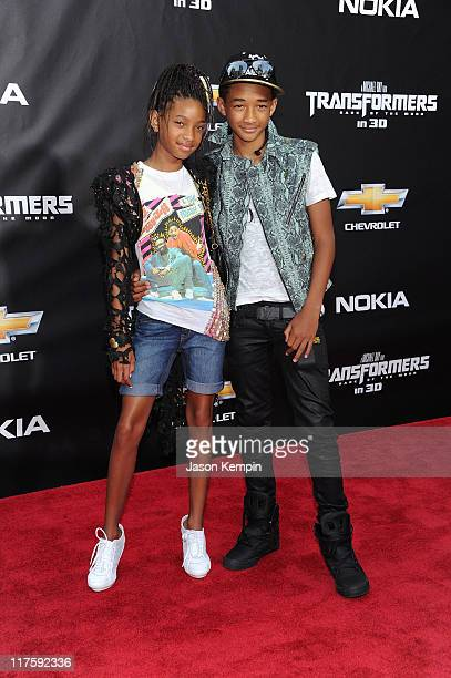 Willow Smith and Jaden Smith attend the New York premiere of 'Transformers Dark Of The Moon' in Times Square on June 28 2011 in New York City