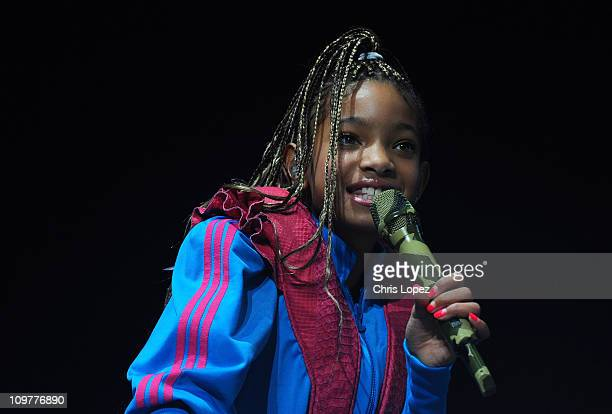 Willow Smith performs at the National Indoor Arena on the first date of her UK tour supporting Justin Bieber on March 4 2001 in Birmingham United...