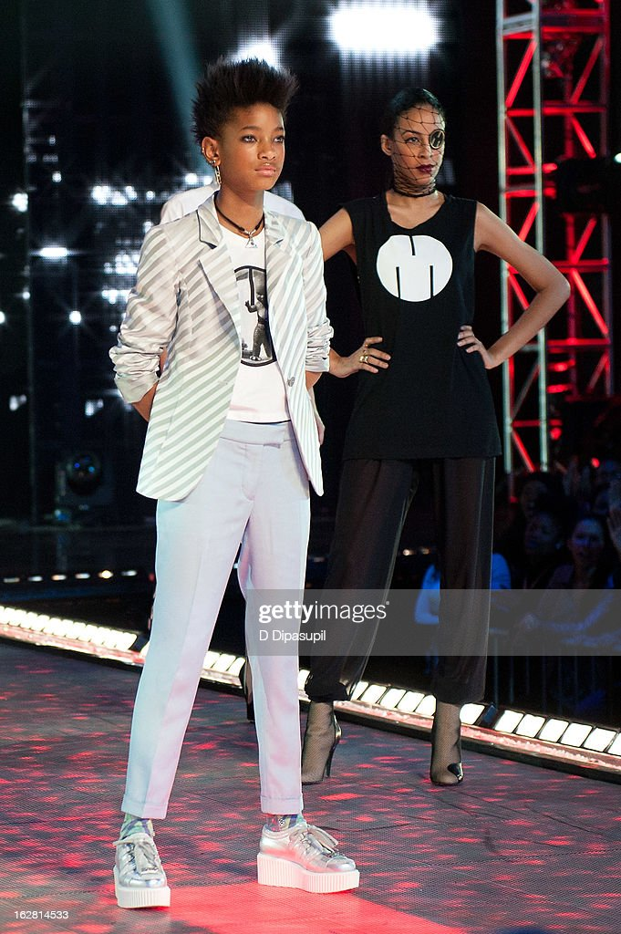 <a gi-track='captionPersonalityLinkClicked' href=/galleries/search?phrase=Willow+Smith&family=editorial&specificpeople=869488 ng-click='$event.stopPropagation()'>Willow Smith</a> (L) poses on the runway during BET's Rip The Runway 2013 at Hammerstein Ballroom on February 27, 2013 in New York City.