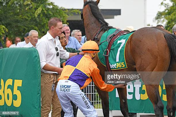 Will's Bid ridden by Callan Murray returns to the mounting yard after winning Faullâs Shoes TwoYearsOld Maiden Plate at Geelong Racecourse on...