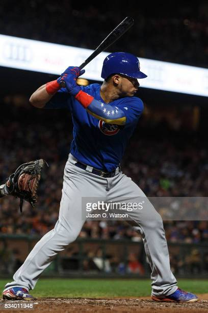 Willson Contreras of the Chicago Cubs at bat against the San Francisco Giants during the fifth inning at ATT Park on August 7 2017 in San Francisco...