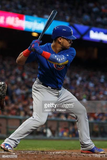 Willson Contreras of the Chicago Cubs at bat against the San Francisco Giants during the third inning at ATT Park on August 7 2017 in San Francisco...