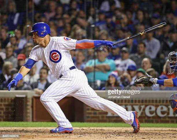 Willson Contreras of the Chicago Cubs bats in the 7th inning against the New York Mets at Wrigley Field on September 12 2017 in Chicago Illinois
