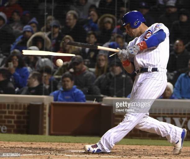 Willson Contreras of the Chicago Cubs breaks his bat as he grounds out against the Philadelphia Phillies during the fourth inning on May 2 2017 at...