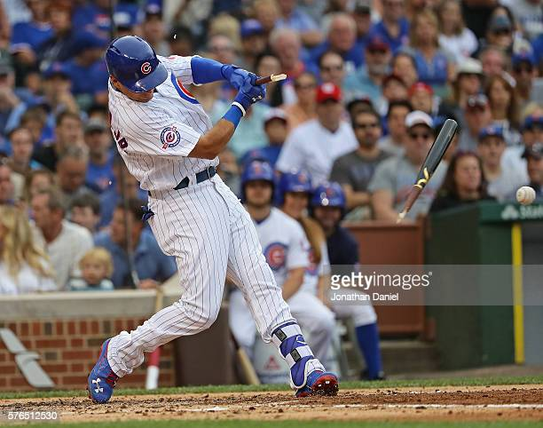 Willson Contreras of the Chicago Cubs breaks his bat hitting in the 2nd inning against the Texas Rangers at Wrigley Field on July 15 2016 in Chicago...