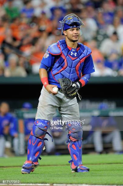 Willson Contreras of the Chicago Cubs catches against the Baltimore Orioles at Oriole Park at Camden Yards on July 15 2017 in Baltimore Maryland