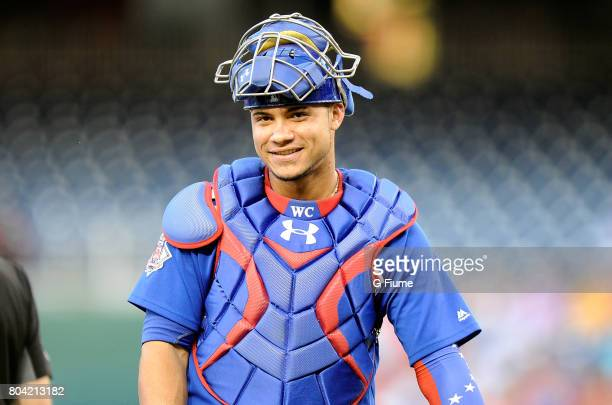 Willson Contreras of the Chicago Cubs catches against the Washington Nationals at Nationals Park on June 26 2017 in Washington DC