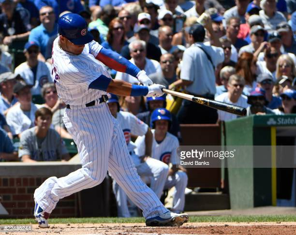 Willson Contreras of the Chicago Cubs hits a threerun homer against the Chicago White Sox during the first inning on July 25 2017 at Wrigley Field in...