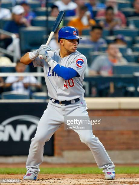 Willson Contreras of the Chicago Cubs in action against the New York Mets at Citi Field on June 12 2017 in the Flushing neighborhood of the Queens...