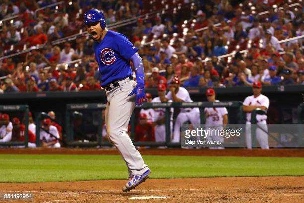 Willson Contreras of the Chicago Cubs reacts after drawing a walk against the St Louis Cardinals in the ninth inning at Busch Stadium on September 26...