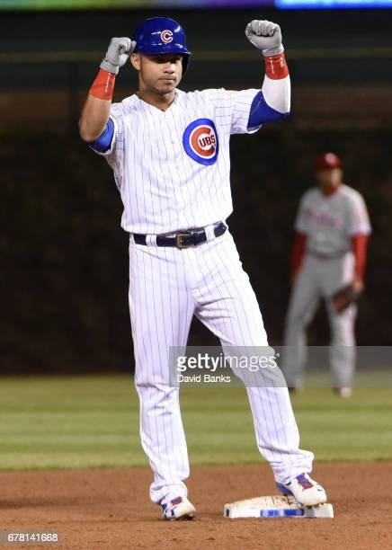 Willson Contreras of the Chicago Cubs reacts after hitting a tworun double against the Philadelphia Phillies during the sixth inning on May 3 2017 at...
