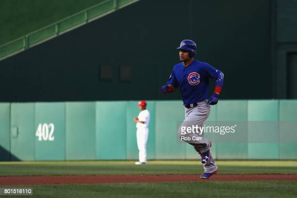 Willson Contreras of the Chicago Cubs rounds the bases after hitting a solo home run in the first inning against the Washington Nationals at...