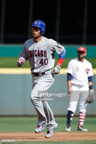 Willson Contreras of the Chicago Cubs rounds the bases after hitting a tworun home run in the third inning of a game against the Cincinnati Reds at...