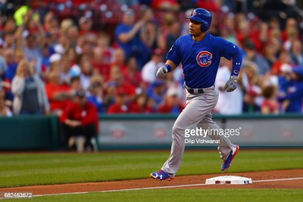 Willson Contreras of the Chicago Cubs rounds third base after hitting a solo home run against the St Louis Cardinals in the second inning at Busch...