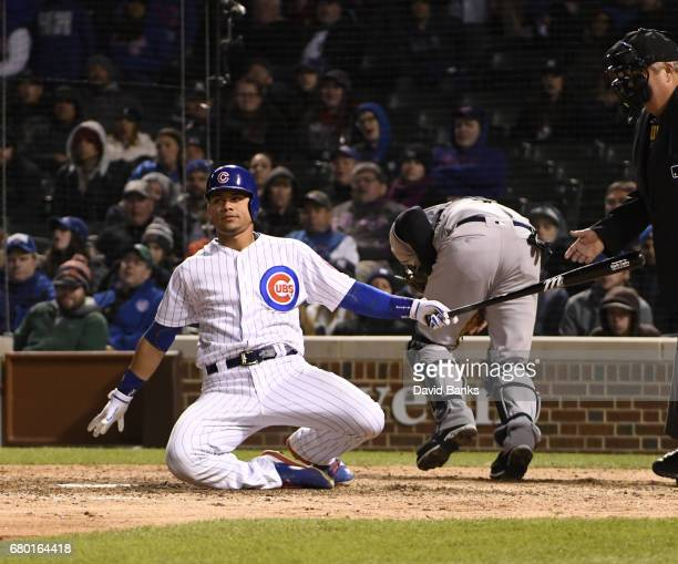 Willson Contreras of the Chicago Cubs strikes out against the New York Yankees during the tenth inning on May 7 2017 at Wrigley Field in Chicago...