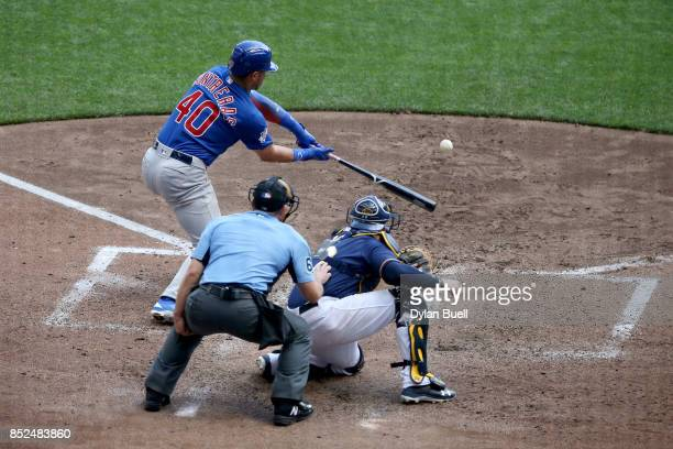 Willson Contreras of the Chicago Cubs strikes out in the sixth inning against the Milwaukee Brewers at Miller Park on September 23 2017 in Milwaukee...