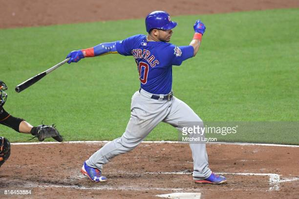 Willson Contreras of the Chicago Cubs takes a swing during a baseball game against the Baltimore Orioles at Oriole Park at Camdens Yards on July 14...