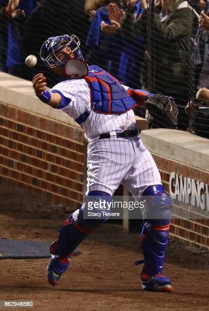 Willson Contreras of the Chicago Cubs throws the ball in the eighth inning against the Los Angeles Dodgers during game four of the National League...