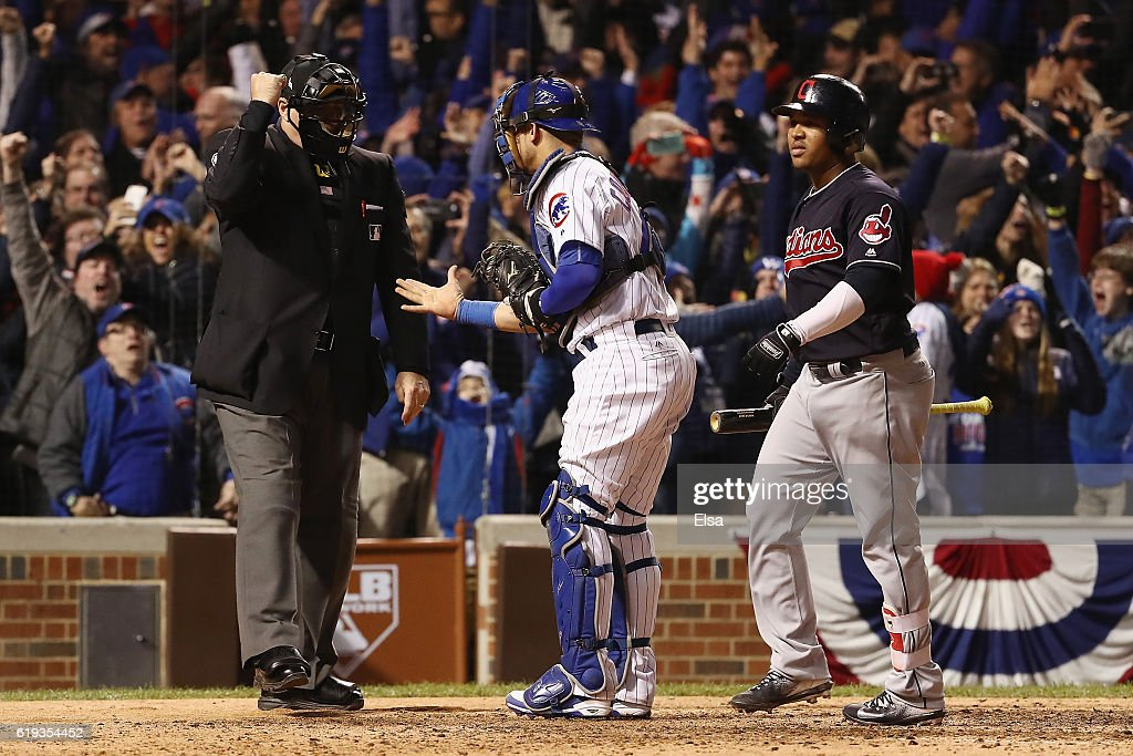 Willson Contreras #40 of the Chicago Cubs turns to umpire Tony Randazzo after Jose Ramirez #11 of the Cleveland Indians struck out to end the game in Game Five of the 2016 World Series at Wrigley Field on October 30, 2016 in Chicago, Illinois.