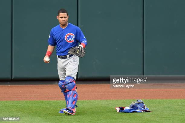 Willson Contreras of the Chicago Cubs warms up before a baseball game against the Baltimore Orioles at Oriole Park at Camdens Yards on July 14 2017...