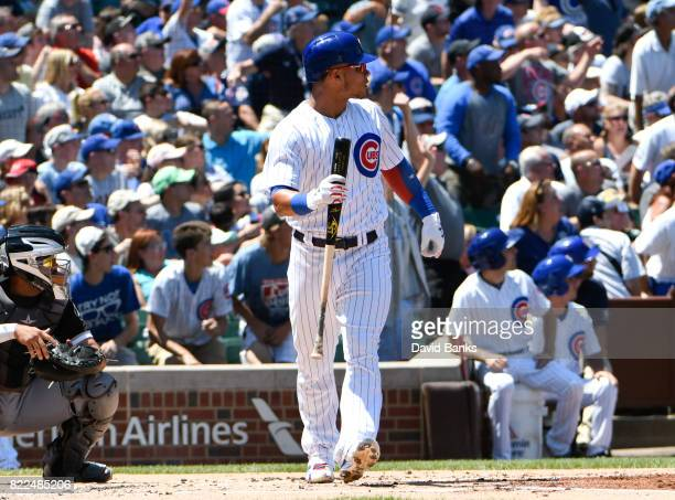 Willson Contreras of the Chicago Cubs watches his threerun homer against the Chicago White Sox during the first inning on July 25 2017 at Wrigley...