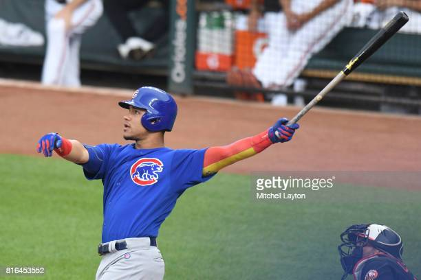Willson Contreras of the Chicago Cubs wtakes a swing a baseball game against the Baltimore Orioles at Oriole Park at Camdens Yards on July 14 2017 in...