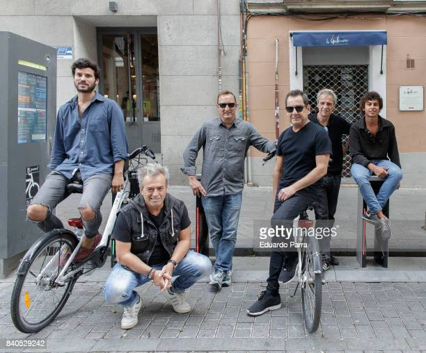 Willy Barcenas and Anton Carreno of Spanish pop band Taburete and David Summers Daniel Mezquita Francisco Javier de Molina and Rafael Munoz of...