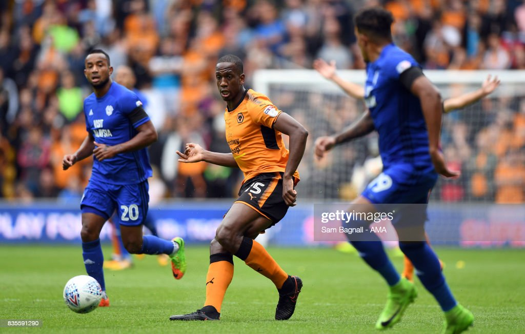 Willy Boly of Wolverhampton Wanderers during the Sky Bet Championship match between Wolverhampton and Cardiff City at Molineux on August 19, 2017 in Wolverhampton, England.