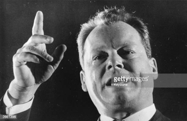 Willy Brandt addressing a meeting in London He was heckled for more than 25 minutes with cries of 'Fascist' and 'Send him Home'