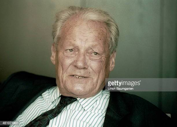 Willy Brandt looks on during an interview in Bonn on August 30 1991 in Bonn Germany