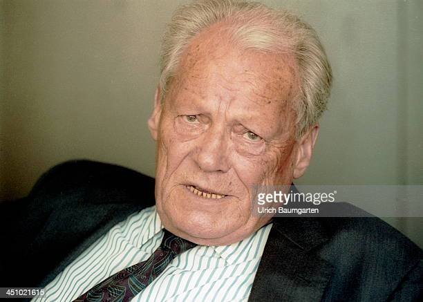 Willy Brandt looks on during an interview on August 30 1991 in Bonn Germany