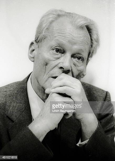 Willy Brandt looks on during the SPD party convention on May 16 1984 in Essen Germany