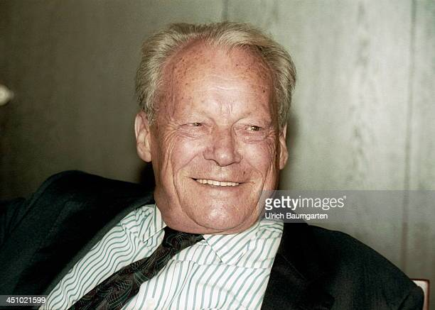 Willy Brandt smiles during an interview on August 30 1991 in Bonn Germany