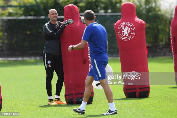 Willy Caballero of Chelsea during a training session at Chelsea Training Ground on August 18 2017 in Cobham England