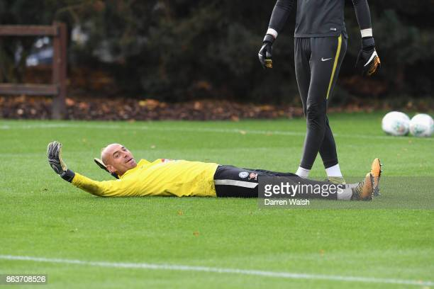 Willy Caballero of Chelsea during a training session at Chelsea Training Ground on October 20 2017 in Cobham United Kingdom