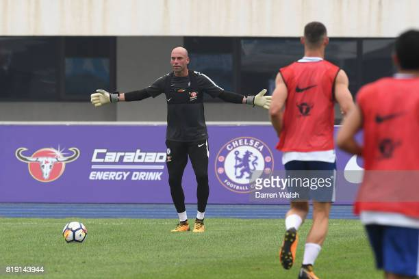 Willy Caballero of Chelsea during a training session at the AOTI Stadium on July 20 2017 in Beijing China