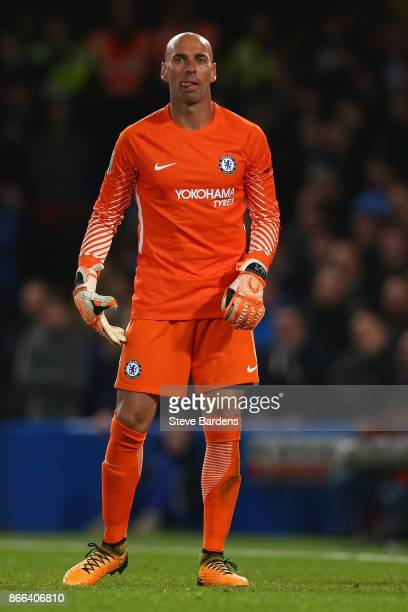 Willy Caballero of Chelsea during the Carabao Cup Fourth Round match between Chelsea and Everton at Stamford Bridge on October 25 2017 in London...