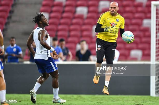 Willy Caballero of Chelsea FC holds the ball during a Chelsea FC International Champions Cup training session at National Stadium on July 24 2017 in...