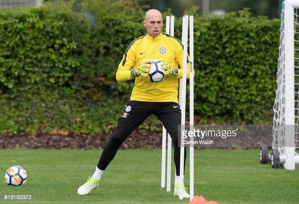 Willy Caballero of Chelsea in action during a training session at Chelsea Training Ground on July 12 2017 in Cobham England