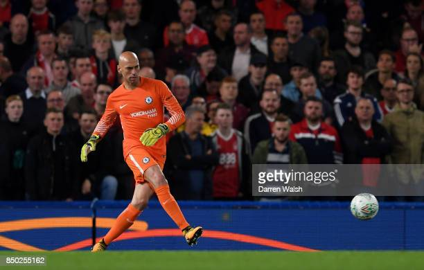 Willy Caballero of Chelsea in action during the Carabao Cup Third Round match between Chelsea and Nottingham Forest at Stamford Bridge on September...