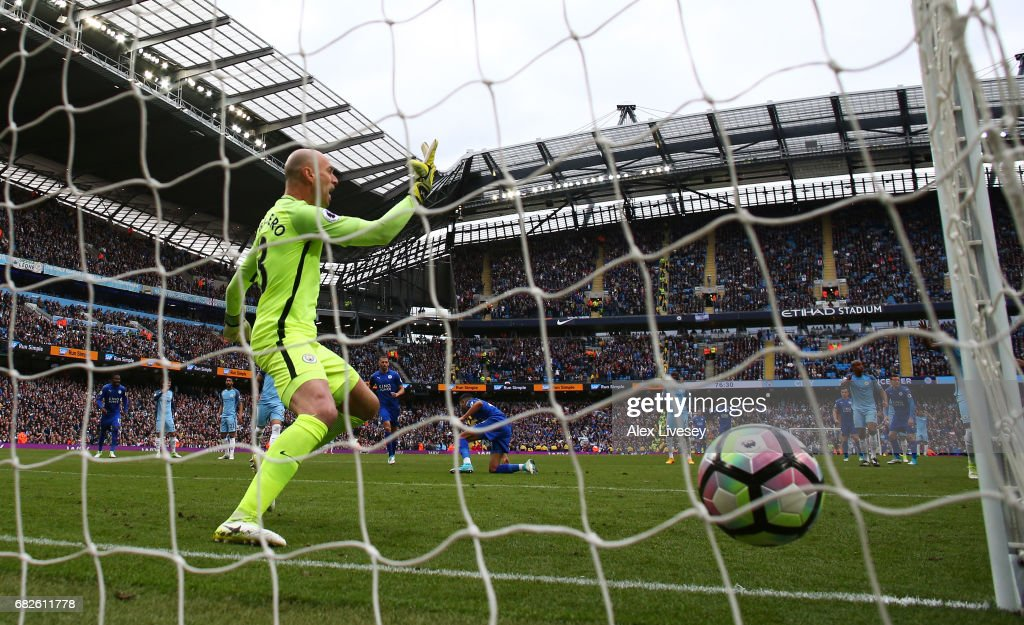 Willy Caballero of Manchester City appeals after Riyad Mahrez of Leicester City scores a penalty against him during the Premier League match between Manchester City and Leicester City at Etihad Stadium on May 13, 2017 in Manchester, England.