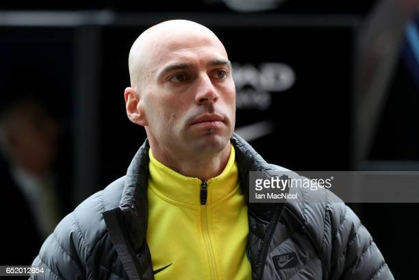 Willy Caballero of Manchester City arrives at the stadium prior to The Emirates FA Cup QuarterFinal match between Middlesbrough and Manchester City...