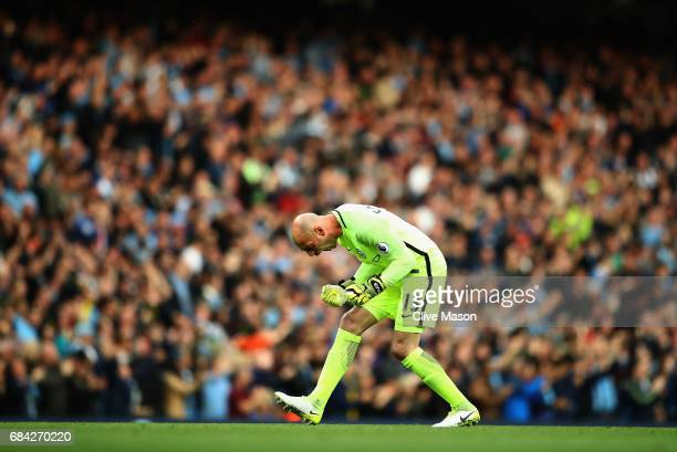 Willy Caballero of Manchester City celebrates a goal during the Premier League match between Manchester City and West Bromwich Albion at Etihad...